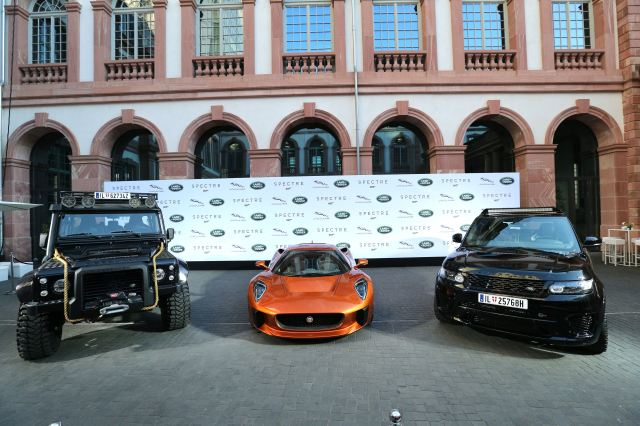 FRANKFURT AM MAIN, GERMANY - SEPTEMBER 15:   A general view during the presentation of the Jaguar Land Rover vehicles starring in the new Bond film 'Spectre' on September 15, 2015 in Frankfurt am Main, Germany.  (Photo by Gisela Schober/Getty Images for Jaguar Land Rover)