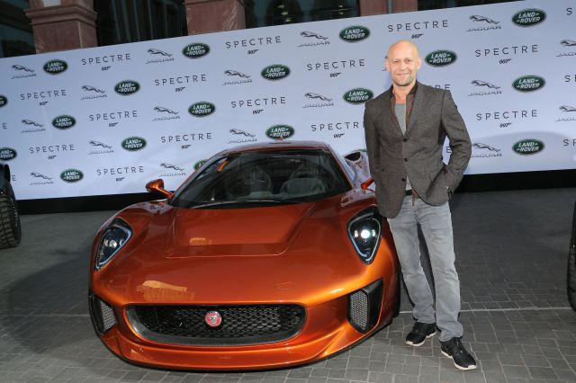 FRANKFURT AM MAIN, GERMANY - SEPTEMBER 15:   Juergen Vogel next to a Jaguar C-X75 during the presentation of the Jaguar Land Rover vehicles starring in the new Bond film 'Spectre' on September 15, 2015 in Frankfurt am Main, Germany.  (Photo by Gisela Schober/Getty Images for Jaguar Land Rover)