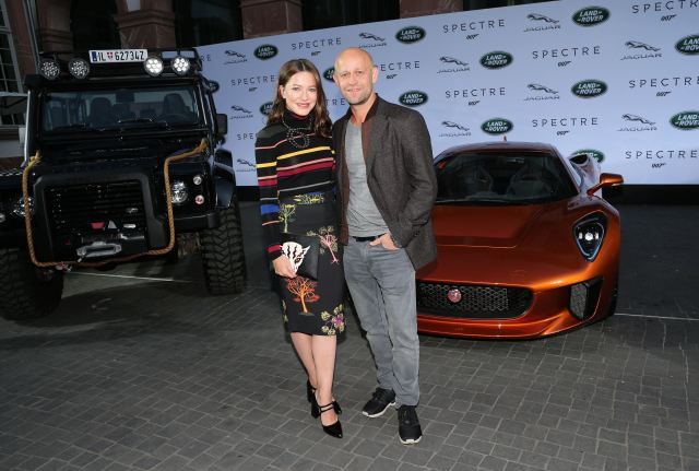 FRANKFURT AM MAIN, GERMANY - SEPTEMBER 15:   Hannah Herzsprung and Juergen Vogel during the presentation of the Jaguar Land Rover vehicles starring in the new Bond film 'Spectre' on September 15, 2015 in Frankfurt am Main, Germany.  (Photo by Gisela Schober/Getty Images for Jaguar Land Rover)