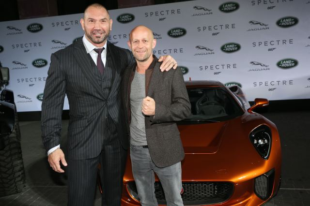 FRANKFURT AM MAIN, GERMANY - SEPTEMBER 15:   Dave Bautista ( James Bond Spectre, Mr. Hinx ) and Juergen Vogel during the presentation of the Jaguar Land Rover vehicles starring in the new Bond film 'Spectre' on September 15, 2015 in Frankfurt am Main, Germany.  (Photo by Gisela Schober/Getty Images for Jaguar Land Rover)