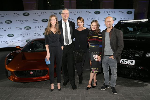 FRANKFURT AM MAIN, GERMANY - SEPTEMBER 15:   Alexandra Maria Lara, Peter Modelhart Director Jaguar Land Rover Germany, Anja Kling, Hannah Herzsprung and Juergen Vogel during the presentation of the Jaguar Land Rover vehicles starring in the new Bond film 'Spectre' on September 15, 2015 in Frankfurt am Main, Germany.  (Photo by Gisela Schober/Getty Images for Jaguar Land Rover)