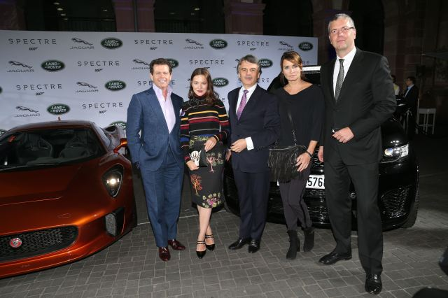 FRANKFURT AM MAIN, GERMANY - SEPTEMBER 15:   Gerry McGovern (Design Director Land Rover), Hannah Herzsprung, Dr. Ralf Speth - CEO Jaguar Land Rover, Anja Kling and Peter Modelhart Director Jaguar Land Rover Germany during the presentation of the Jaguar Land Rover vehicles starring in the new Bond film 'Spectre' on September 15, 2015 in Frankfurt am Main, Germany.  (Photo by Gisela Schober/Getty Images for Jaguar Land Rover)