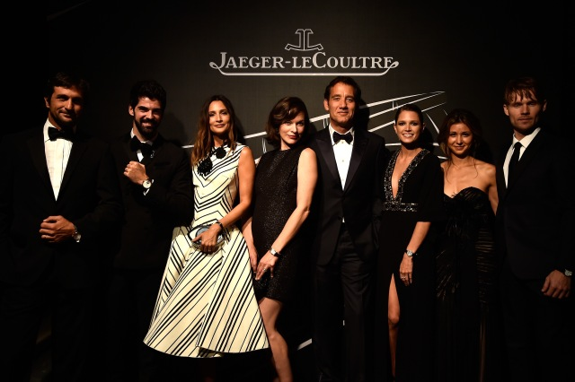 VENICE, ITALY - SEPTEMBER 02:  (L-R) Eduardo Novillo Astrada, Miguel Munoz Angel, Astrid Munoz, Milla Jovovich, Clive Owen, Helena Bordon, Elissa Shay and Scott Haze pose wearing Jaeger-LeCoultre watches during a gala dinner hosted by Jaeger-LeCoultre at Scuola Grande di San Rocco during the 71st Venice Film Festival at Scuola Grande di San Rocco on September 2, 2014 in Venice, Italy.  (Photo by Pascal Le Segretain/Getty Images) *** Local Caption *** Clive Owen;Astrid Munoz;Eduardo Novillo Astrada;Milla Jovovich;Miguel Munoz Angel;Helena Bordon;Elissa Shay;Scott Haze
