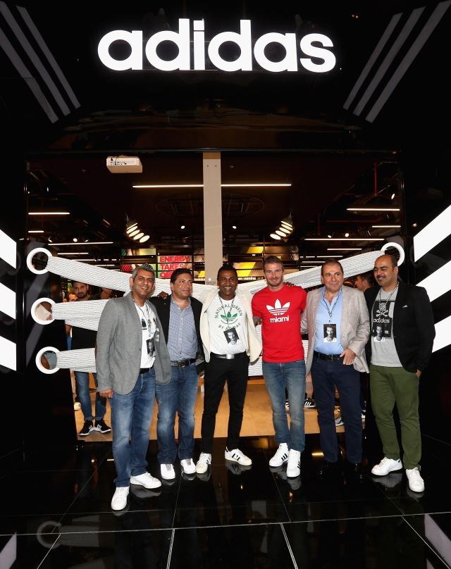 DUBAI, UNITED ARAB EMIRATES - SEPTEMBER 29:  Global icon and footballing legend David Beckham today opened the new adidas HomeCourt concept store in the Mall of Emirates, Dubai to the delight of thousands of fans who caught a glimpse of the sporting superstar during a whistle-stop visit to the United Arab Emirates on September 29, 2015 in Dubai, United Arab Emirates.  (Photo by Warren Little/Getty Images) *** Local Caption *** David Beckham