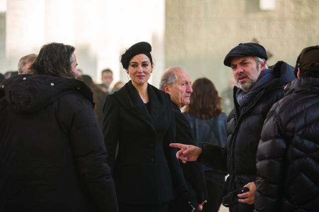 Monica Bellucci and Director Sam Mendes on the set of Metro-Goldwyn-Mayer Pictures/Columbia Pictures/EON Productions? action adventure SPECTRE.