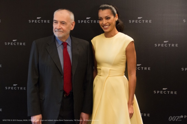 ?Producer Michael G. Wilson and actress Stephanie Sigman (Estrella) photographed today in Mexico City. Production on SPECTRE has moved to the city to shoot the film?s opening sequence featuring the Day of the Dead festival. This is the fourth time a Bond adventure has filmed in the country.