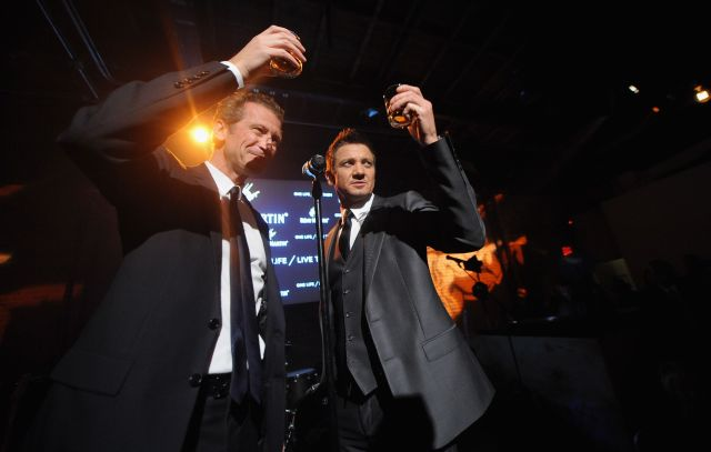 NEW YORK, NY - OCTOBER 20:  Remy Cointreau CEO, Americas, Philippe Farnier and Jeremy Renner attend One Life/Live Them presented by Remy Martin and Jeremy Renner on October 20, 2015 in New York City.  (Photo by Brad Barket/Getty Images for Remy Martin)