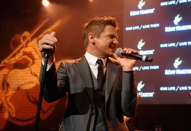 NEW YORK, NY - OCTOBER 20:  Jeremy Renner performs on stage at One Life/Live Them presented by Remy Martin and Jeremy Renner on October 20, 2015 in New York City.  (Photo by Craig Barritt/Getty Images for Remy Martin)