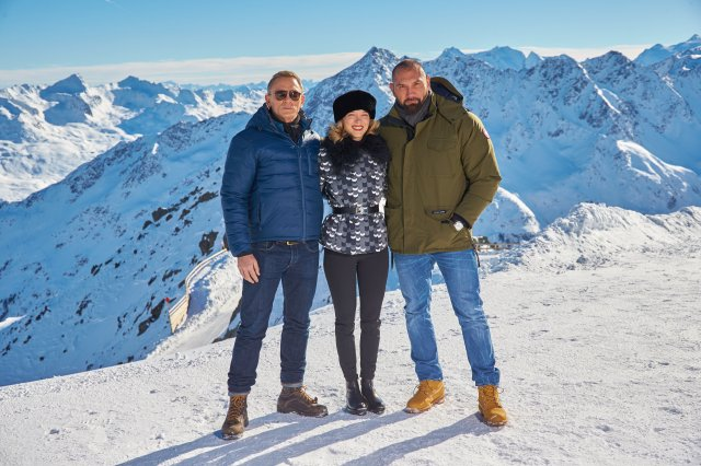 EON Productions, Metro-Goldwyn-Mayer and Sony Pictures Entertainment commence filming in S?lden, Austria for the 24th James Bond adventure SPECTRE.  Pictured: (L to R) Daniel Craig, L?a Seydoux, Dave Bautista.Copyright:  ? 2015 Columbia TriStar Marketing Group, Inc. and MGM Studios. All rights reserved..Photo Credit: Alexander Tuma