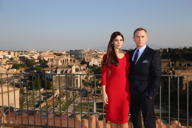 ROME, ITALY - FEBRUARY 18:  EON Productions, Metro-Goldwyn-Mayer and Sony Pictures Entertainment commence filming in Rome, Italy for the 24th James Bond adventure SPECTRE. Pictured Monica Bellucci and Daniel Craig. Event date: February 18, 2015.  (Photo by Vittorio Zunino Celotto/Getty Images for CTMG, Inc. and MGM Studios)