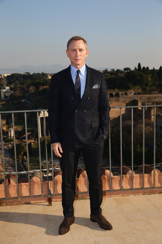 ROME, ITALY - FEBRUARY 18:  EON Productions, Metro-Goldwyn-Mayer and Sony Pictures Entertainment commence filming in Rome, Italy for the 24th James Bond adventure SPECTRE. Pictured Daniel Craig. Event date: February 18, 2015.  (Photo by Vittorio Zunino Celotto/Getty Images for CTMG, Inc. and MGM Studios)