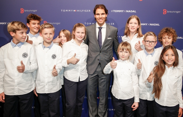STUTTGART, GERMANY - NOVEMBER 10: Rafael Nadal with kids attend the Tommy Hilfiger X Rafael Nadal @ Breuninger on November 10, 2015 in Stuttgart, Germany. (Photo by Franziska Krug/Getty Images for Tommy Hilfiger)