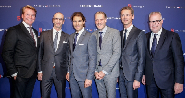 STUTTGART, GERMANY - NOVEMBER 10: Christian Kohlhase, Ingo Wilts, Rafael Nadal, Joachim Aisenbrey, Holger Blecker and Uwe Hildebrand attend the Tommy Hilfiger X Rafael Nadal @ Breuninger on November 10, 2015 in Stuttgart, Germany. (Photo by Franziska Krug/Getty Images for Tommy Hilfiger)