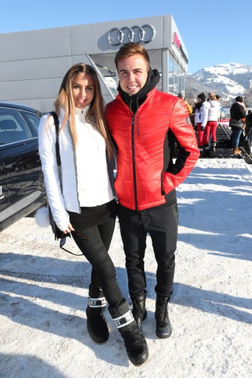 KITZBUEHEL, AUSTRIA - JANUARY 22: Mario Goetze and his girlfriend model Ann-Kathrin Broemmel attend the Audi Driving Experience during the Audi Hahnenkamm race weekend on January 22, 2016 in Kitzbuehel, Austria. (Photo by Gisela Schober/Getty Images)